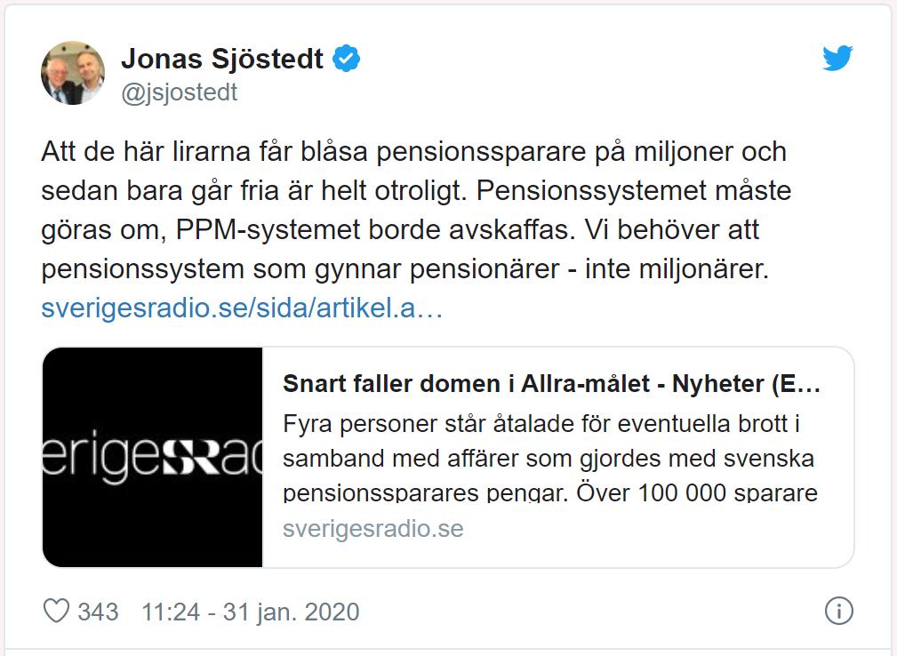 Jonas Sjöstedt kommenterar Allra-skandalen