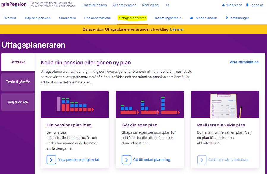 På MinPension finns en uttagsplanerare där du i detalj kan planera hur du vill ta ut dina pensionspengar.