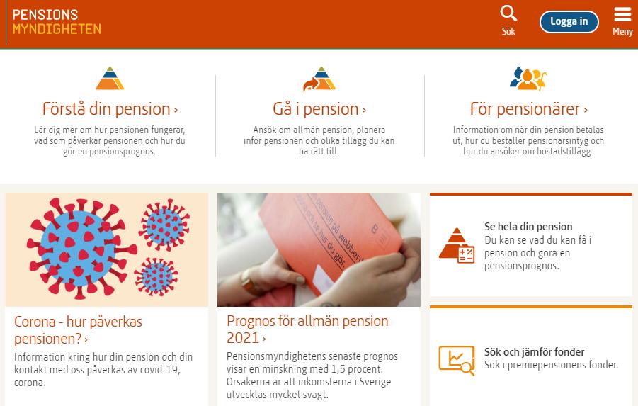 Pensionsmyndigheten leder dig rätt. Bra info om hur pension funkar, hur du ska göra när du vill gå i pension och en smart tjänst som visar om du har rätt till bostadstillägg.
